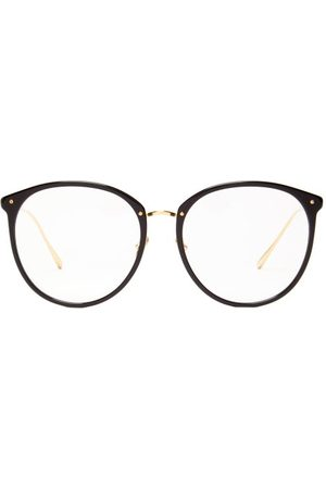 Linda Farrow Kings Round Acetate And 18kt -plated Glasses - Womens