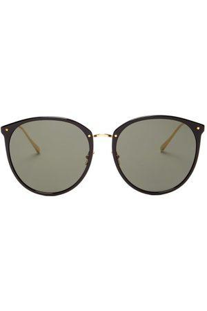 Linda Farrow Kings Round Acetate & 18kt -plated Sunglasses - Womens