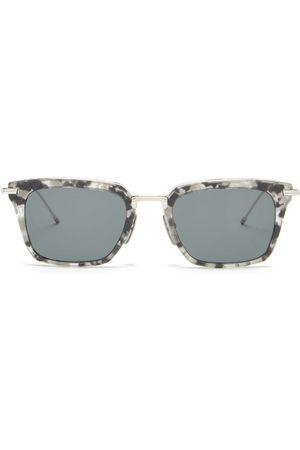 Thom Browne Tortoiseshell-effect Acetate D-frame Sunglasses - Mens - Grey