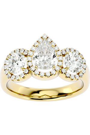 SuperJeweler 2.5 Carat Pear Shape Halo Diamond Three Stone Ring in 14K (5.50 g) (