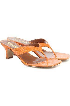PARIS TEXAS Croc-effect leather thong sandals