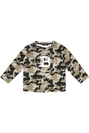 Balmain Logo camouflage cotton sweatshirt