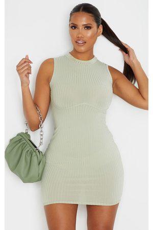PRETTYLITTLETHING Shape Sage Rib Bust Detail Bodycon Dress