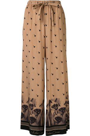 UNDERCOVER Cat-print wide-leg trousers