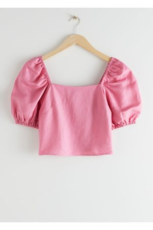& OTHER STORIES Linen Blend Puff Sleeve Top