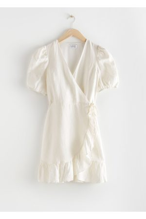 & OTHER STORIES Women Party Dresses - Puff Sleeve Linen Wrap Mini Dress