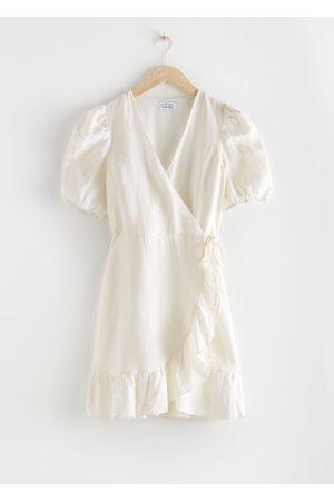 & OTHER STORIES Women Party Dresses - Puff Sleeve Linen Wrap Mini Dress