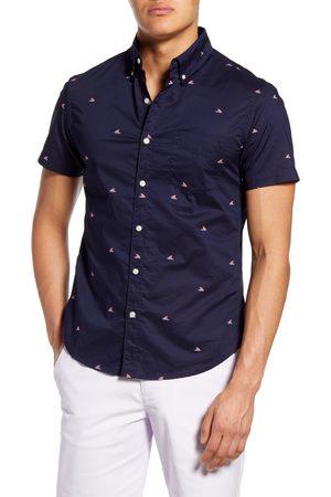 BONOBOS Men's Riviera Slim Fit Shark Fin Short Sleeve Button-Down Shirt