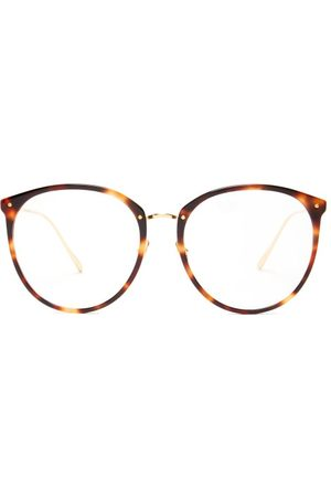 Linda Farrow Kings Round Acetate & 18kt Gold-plated Glasses - Womens