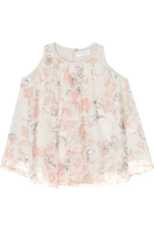 Brunello Cucinelli Floral tulle and cotton tank top