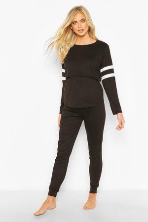 Boohoo Womens Maternity Stripe Nursing Loungewear Set - - 4