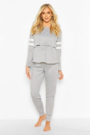 Boohoo Womens Maternity Stripe Detail Nursing Lounge Set - - 4