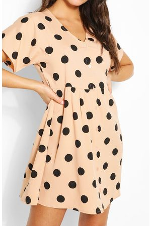 Boohoo Womens Large Scale Spot Button Through Smock Dress - - 4