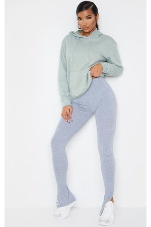 PRETTYLITTLETHING Women Leggings - Grey Marl Basic Jersey Split Hem Leggings