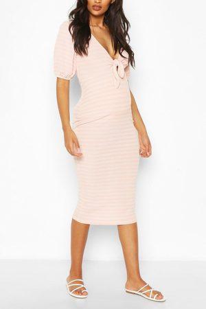 Boohoo Womens Maternity Nursing Ribbed Bow Midi Dress - - 4