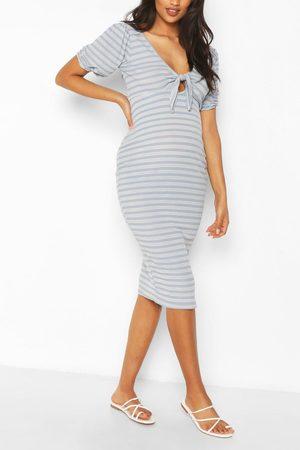 Boohoo Women Bodycon Dresses - Womens Maternity Nursing Ribbed Bow Midi Dress - - 4
