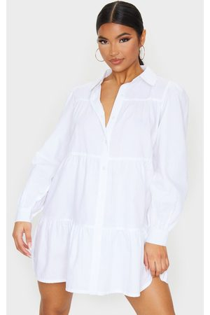PRETTYLITTLETHING Long Sleeve Tiered Shirt Dress