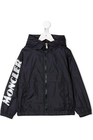 Moncler Boys Rainwear - Logo print patch detail rain jacket