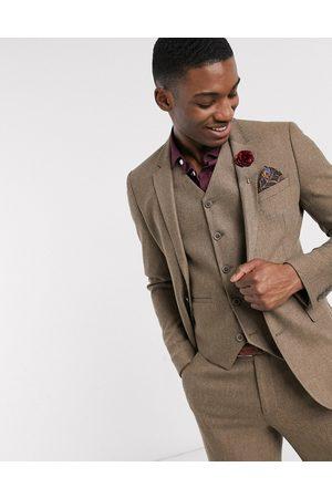 ASOS Suits - Wedding super skinny wool mix suit jacket in camel herringbone
