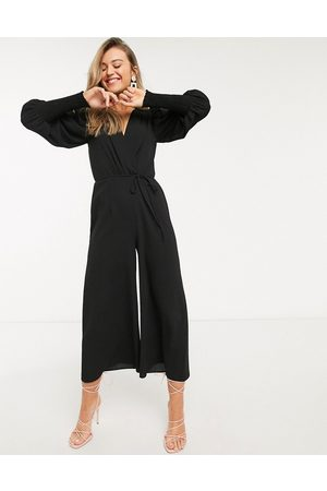ASOS Wrap shirred sleeve jumpsuit in
