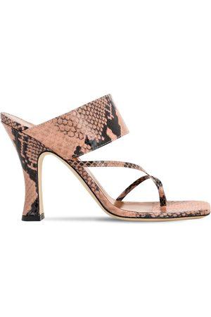 PARIS TEXAS 90mm Python Print Leather Thong Sandals