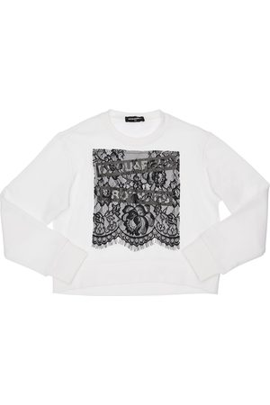 Dsquared2 Cotton Sweatshirt W/ Lace Insert