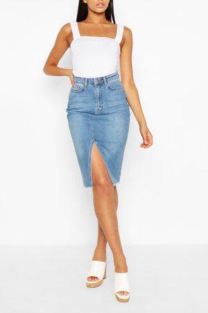 Boohoo Womens Tall Split Front Denim Midi Skirt - - 2