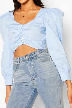 Boohoo Womens Tall Cotton Poplin Puff Sleeve Crop Top - - 4