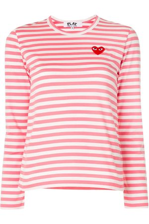 Comme des Garçons Striped logo-patch long sleeved T-shirt
