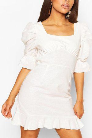Boohoo Women Party Dresses - Womens Petite Linen Look Volume Sleeve Mini Dress - - 10
