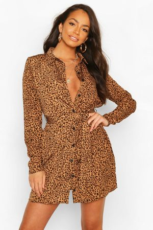 Boohoo Womens Shirt Dress Animal Print - - 4