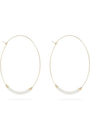 Mizuki Women Earrings - Pearl & 14kt Gold Hoop Earrings - Womens - Pearl