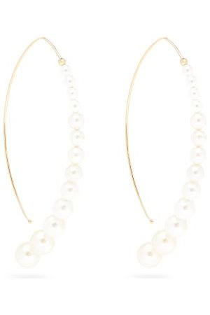 Mizuki Graduated Pearl & 14kt Gold Curved Drop Earrings - Womens - Pearl
