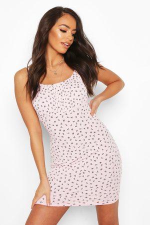 Boohoo Womens Ditsy Floral Rib Rouche Bust Mini Dress - - 2