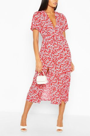 Boohoo Womens Tall Floral Midi Dress - - 4