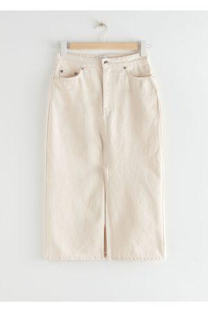 & OTHER STORIES Women Midi Skirts - Denim Front Slit Midi Skirt