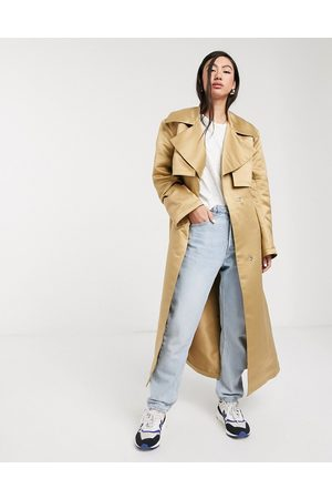 ASOS Strong shoulder trench coat in stone