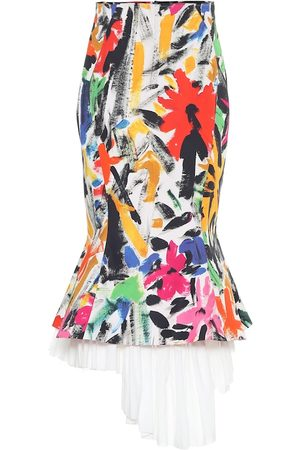 Marni Printed cotton asymmetric midi skirt