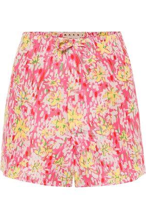Marni Floral silk-crêpe shorts