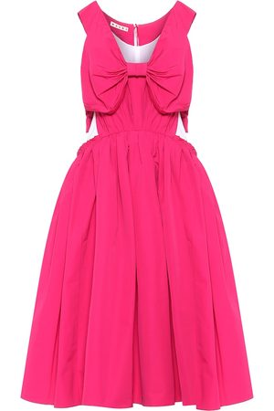 Marni Bow-trimmed cotton-blend midi dress