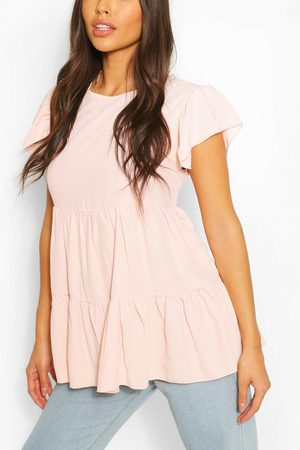 Boohoo Womens Frill Sleeve Smock Top - - 4