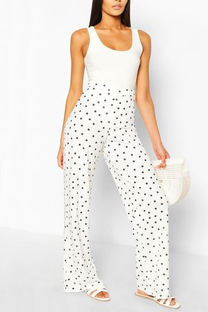 Boohoo Womens Polka Dot Crepe Wide Leg Pants - - 4
