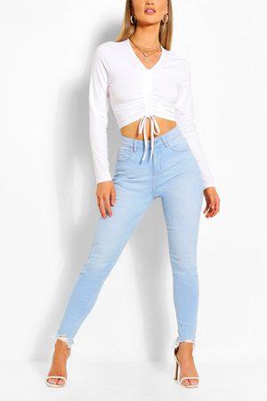 Boohoo Womens High Waist Frayed Hem Stretch Skinny Jeans - - 2