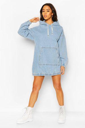 Boohoo Womens Hooded Denim Pullover Dress - - 2