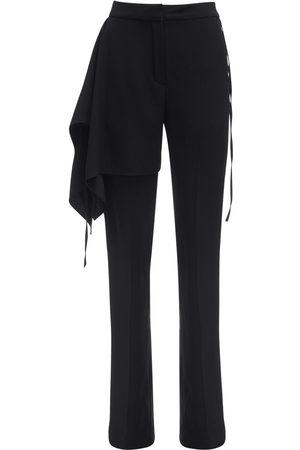 Atlein Draped Satin Crepe Tailored Pants