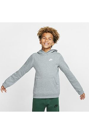 Nike Boys' Sportswear Logo Club Hoodie in Grey Size Small Cotton/Polyester/Fleece