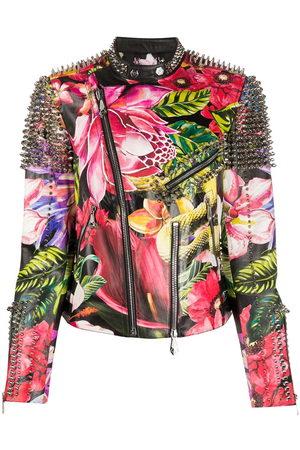 Philipp Plein Spike-stud floral biker jacket