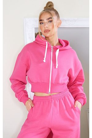 PRETTYLITTLETHING Hot Thick Zip Up Drawstring Cropped Hoodie