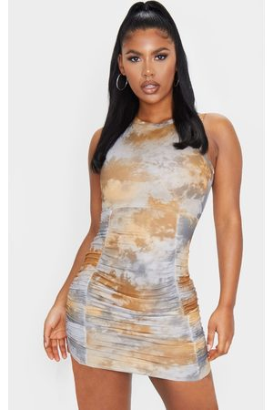 PRETTYLITTLETHING Multi Ribbed Tie Dye Ruched Sleeveless Bodycon Dress