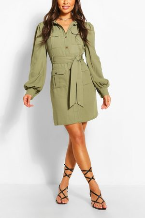 Boohoo Womens Utility Pocket Detail Shirt Dress - - 4